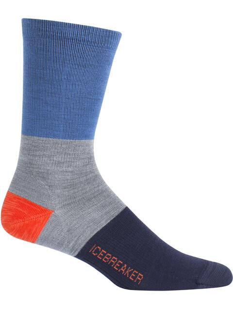 Icebreaker Lifestyle UL Crew Rugby Stripe Sokken Heren grijs/blauw
